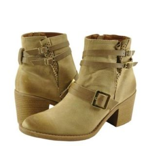 Belted Staked Heel Ankle Boot Taupe Oil Finish